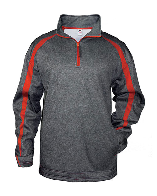 Badger 1481     Adult Pro Heathered Fleece Fusion ¼ Zip Front Shirt  Carbon/ Red at bigntallapparel