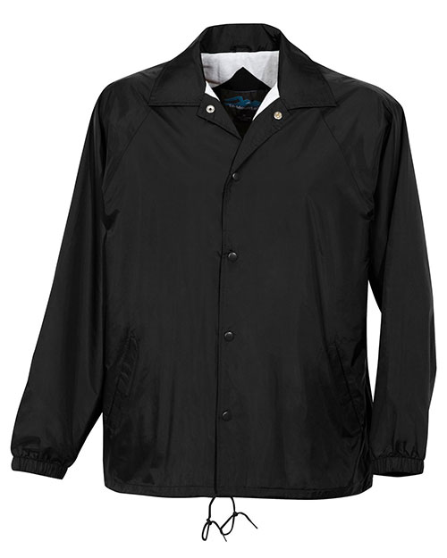 Tri-Mountain 1500 Mens Nylon Coachs Jacket with Flannel Lining Black at bigntallapparel