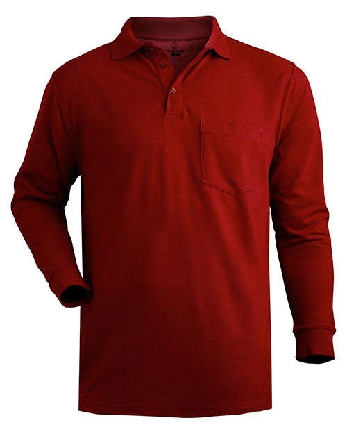 Edwards 1525 Men  Long Sleeve Pique Polo With Pockets Burgundy at bigntallapparel