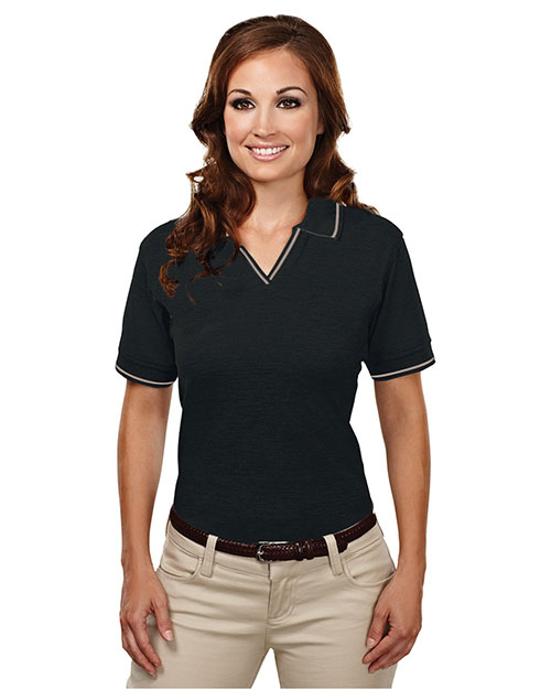 Womens 60 40 Stain Resistant Johnny Collar Pique Golf