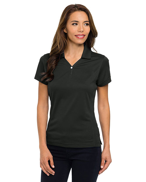 Tri-Mountain 156 Women Poly Ultracool Pique Y-Neck Golf Shirt Black at bigntallapparel