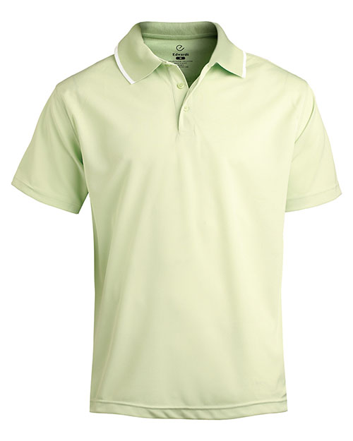 Edwards 1575 MEN'S TIPPED COLLAR DRY-MESH HI-PERFORMANCE POLO CUCUMBER at bigntallapparel