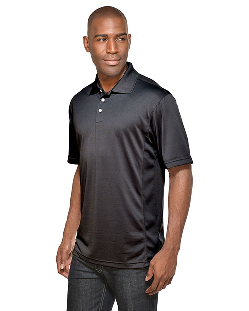 Tri-Mountain 158 Men Poly Ultracool Pique Golf Shirt Black at bigntallapparel