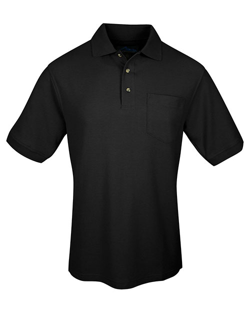 Tri-Mountain 169 Men Cotton Pique Pocketed Golf Shirt Black at bigntallapparel