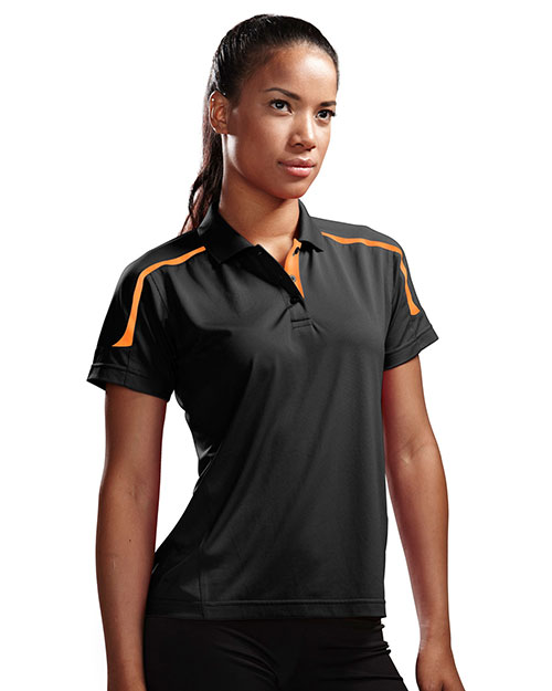 Tri-Mountain 171 Womens 100% Polyester UC Knit Polo Shirt. BLACK / ORANGE at bigntallapparel