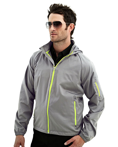 Tri-Mountain 1730 Mens 100% Polyester long sleeve hoodly jacket ASH/LIME at bigntallapparel