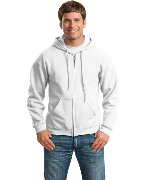 Gildan 18600 Men Heavy Blend Full Zip Hoodie White at bigntallapparel