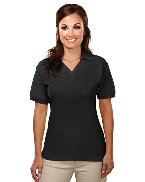 Tri-Mountain 186 Womens cotton baby pique y-neck golf shirt. BLACK at bigntallapparel