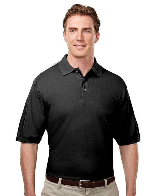 Tri-Mountain 188 Mens Baby Pique Polo Golf Shirt Black at bigntallapparel