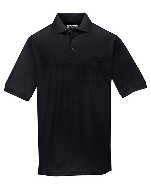 Tri-Mountain 189 Mens Baby Pique Pocketed Polo Golf Shirt Black at bigntallapparel