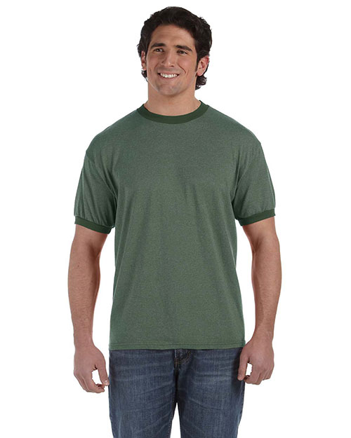 Authentic Pigment 1937 Men  6 Oz. Direct-Dyed Heather Ringer T-Shirt Mallard at bigntallapparel