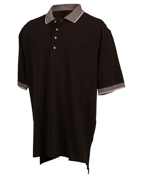 Tri-Mountain 196 Big and Tall Mens  Pique Polo Golf Shirt With Jacquard Trim Black/Gray at bigntallapparel