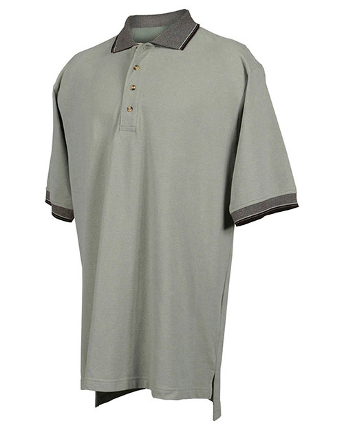 Tri mountain pique polo golf shirt with jacquard trim at for Large tall golf shirts