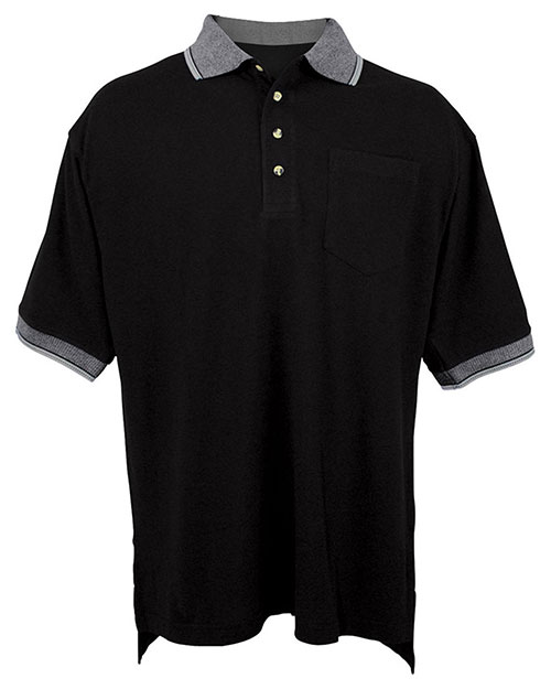 Tri-Mountain 197 Men Big And Tall Pique Pocketed Polo Golf Shirt With Jacquard Trim Black/Gray at bigntallapparel