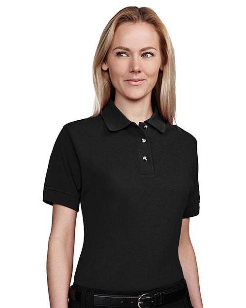 Tri-Mountain 202 Womens 60/40 stain resistant pique golf shirt. BLACK at bigntallapparel