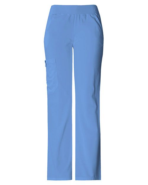 Cherokee 2085P Women Mid Rise Knit Waist Pull-On Pant Ciel at bigntallapparel