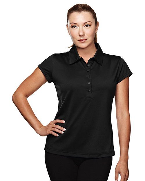 Tri-Mountain 221 Womens Poly UltraCool golf shirt BLACK at bigntallapparel