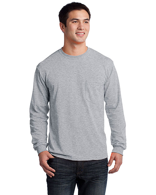 Gildan 2410 Mens Ultra 100% Cotton Long Sleeve T-Shirt with Pocket Sport Grey at bigntallapparel