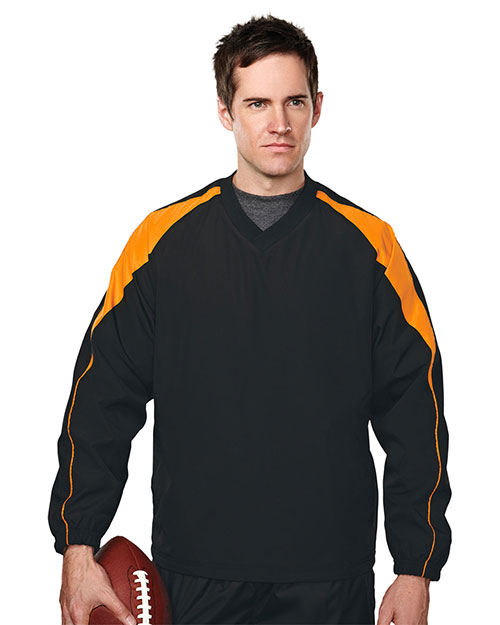Tri-Mountain 2630 Men's 100% polyester  v-neck long sleeve wind shirt with water resistent. BLACK/ORANGE at bigntallapparel