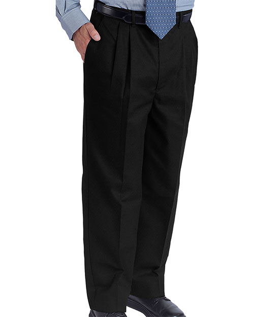 Edwards 2678 Men Easy Fit Chino Pleated Ed Pant Black at bigntallapparel