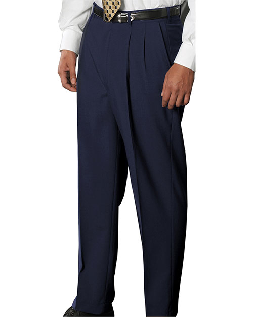 Edwards 2680 MEN'S WOOL BLEND PLEATED DRESS PANT NAVY at bigntallapparel