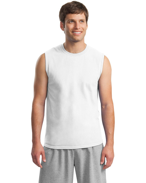 Gildan 2700 Mens Ultra Cotton Sleeveless T Shirt White at bigntallapparel