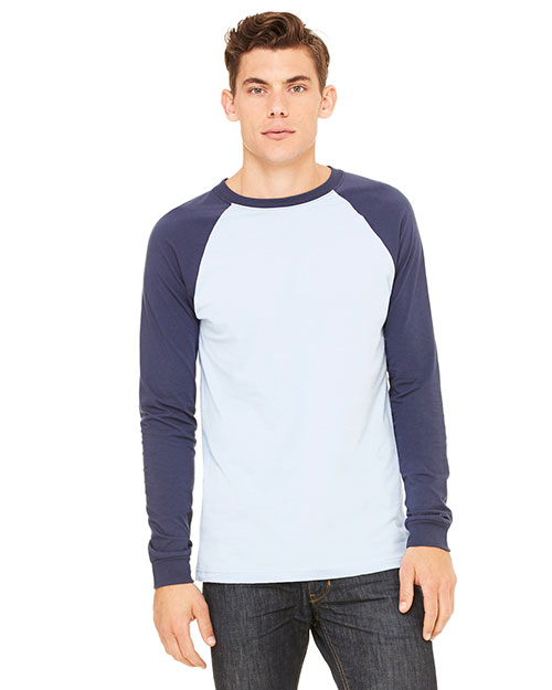 Bella 3000CALP Men's Jersey Long-Sleeve Baseball T-Shirt BABY BLUE/NAVY at bigntallapparel