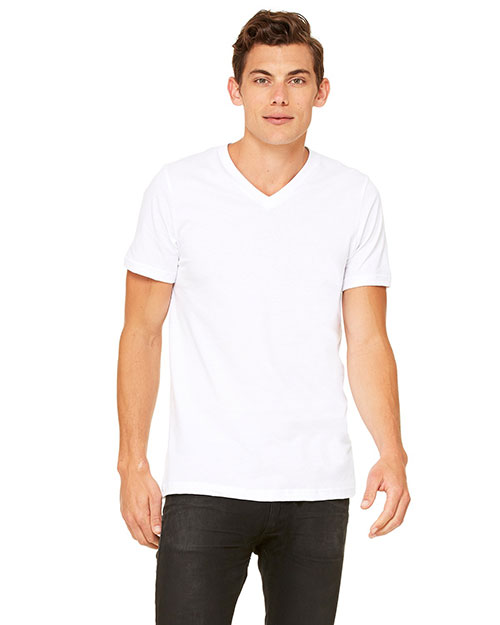 Canvas 3005 Men's 4.2 oz. Delancey V-Neck WHITE at bigntallapparel