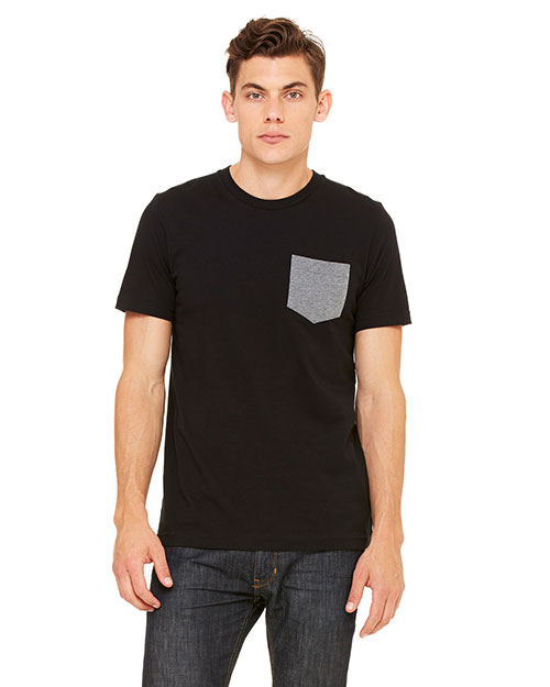 Bella 3021ALP Men's Jersey Short-Sleeve Pocket T-Shirt BLACK/DP HTHR at bigntallapparel