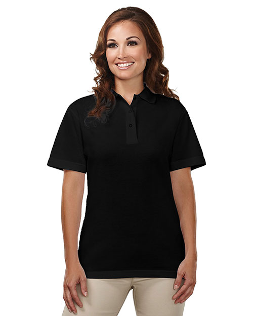 Tri-Mountain 302 Womens 60/40 easy care knit shirt with snap closure. Ideal cook shirt. BLACK at bigntallapparel