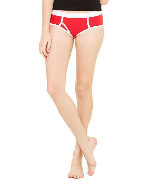 Bella 304 Ladies' Cotton/Spandex Boyfriend Brief RED/WHITE at bigntallapparel