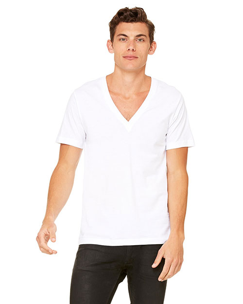 Canvas 3105 Unisex 4.2 oz. Deep V-Neck WHITE at bigntallapparel