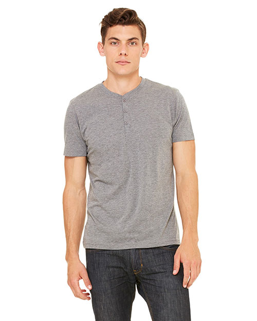 Bella 3125 Men Triblend Short-Sleeve Henley Grey Triblend at bigntallapparel