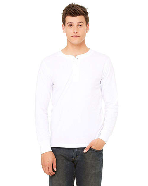 Canvas 3150 Men's 4.2 oz. Long-Sleeve Henley WHITE at bigntallapparel