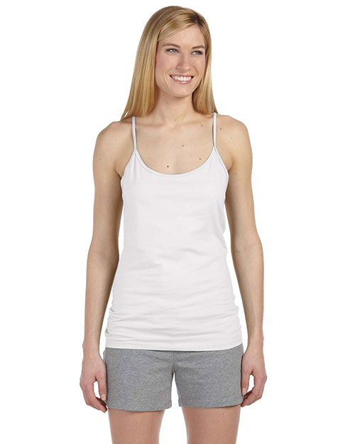 Anvil 325 Ladies' 4.5 oz. Semi-Sheer Spaghetti Strap Tank Top WHITE at bigntallapparel