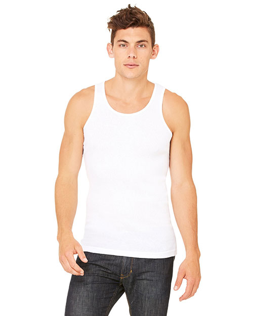 Canvas 3400C Men's 5.8 oz. Mulholland Rib Tank WHITE at bigntallapparel