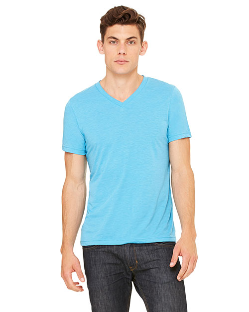 Bella 3415CALP Unisex Triblend Short-Sleeve V-Neck T-Shirt AQUA TRIBLEND at bigntallapparel
