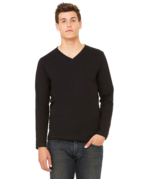 Bella 3425 Men Jersey Long-Sleeve V-Neck T-Shirt Black at bigntallapparel