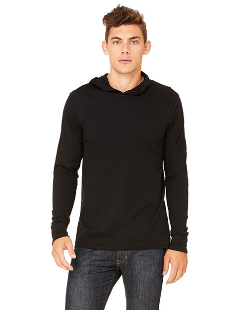 Bella 3551 Men's Thermal Long-Sleeve Henley Hoodie BLACK at bigntallapparel