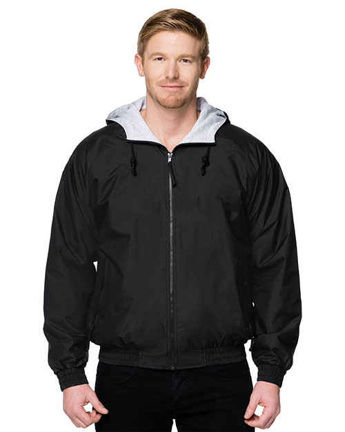 Tri-Mountain 3600 Mens Nylon Hooded Jacket with Jersey Lining Black at bigntallapparel
