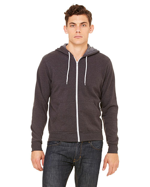 Bella 3739 Unisex Poly-Cotton Fleece Full-Zip Hoodie DK GREY HEATHER at bigntallapparel