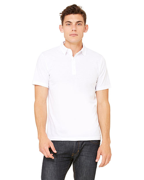 Canvas 3802 Men's 3.8 oz. Five-Button Jersey Polo WHITE at bigntallapparel