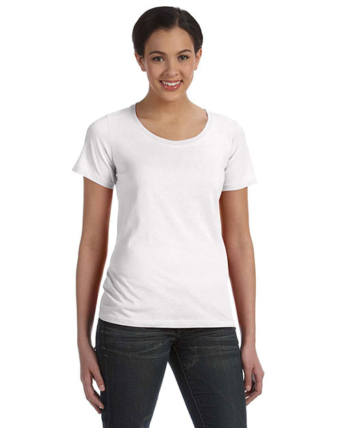 Anvil 391A Women Sheer Scoop Neck T-Shirt White at bigntallapparel