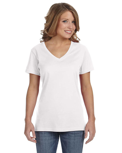 Anvil 392A Ladies' Sheer V-Neck T-Shirt WHITE at bigntallapparel