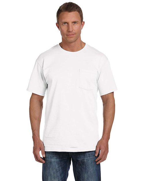 Fruit Of The Loom 3931P Men  5.4 Oz. Heavy Cotton Pocket T-Shirt White at bigntallapparel