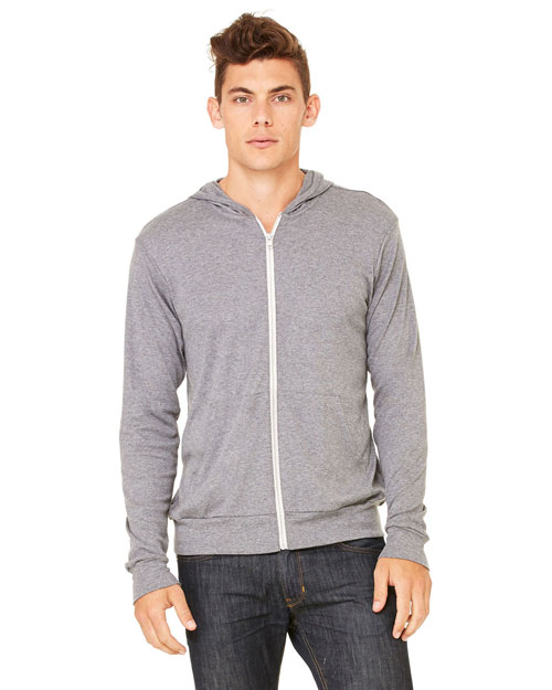 Canvas 3939 Unisex 5.6 oz. Triblend Lightweight Hoodie GREY TRIBLEND at bigntallapparel