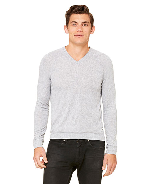 Bella 3985 Unisex V-Neck Lightweight Sweater ATHLETIC HEATHER at bigntallapparel