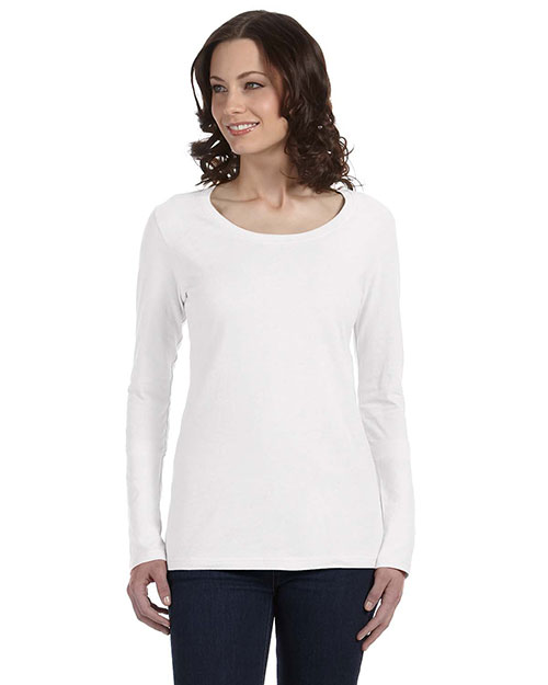 Anvil 399 Women Sheer Long-Sleeve Scoop Neck T-Shirt White at bigntallapparel