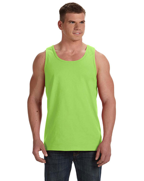 Fruit Of The Loom 39TKR Men  5 Oz., 100% Heavy Cotton Hd Tank Neon Green at bigntallapparel