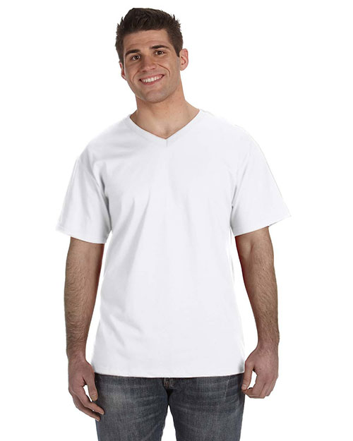 Fruit of the Loom 39VR Men's 5 oz., 100% Heavy Cotton HD® V-Neck T-Shirt WHITE at bigntallapparel